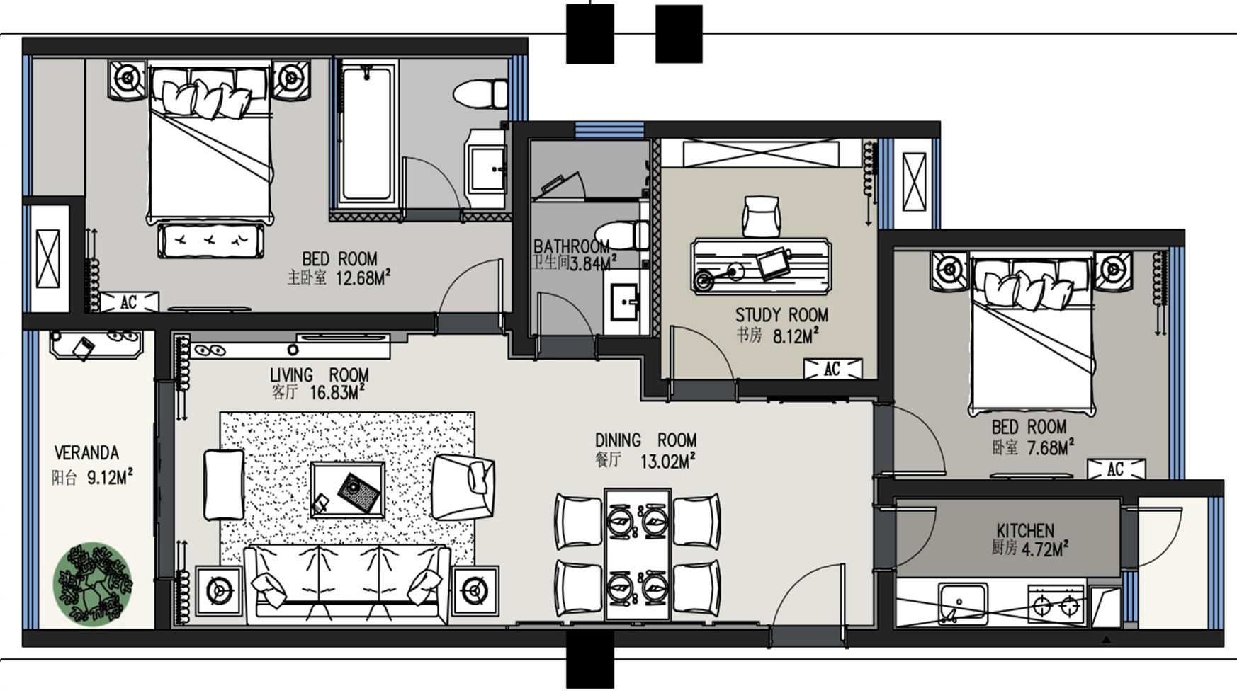 b户型设计说明     通透的空间,明亮的材质,个性的家具,鲜明的色彩