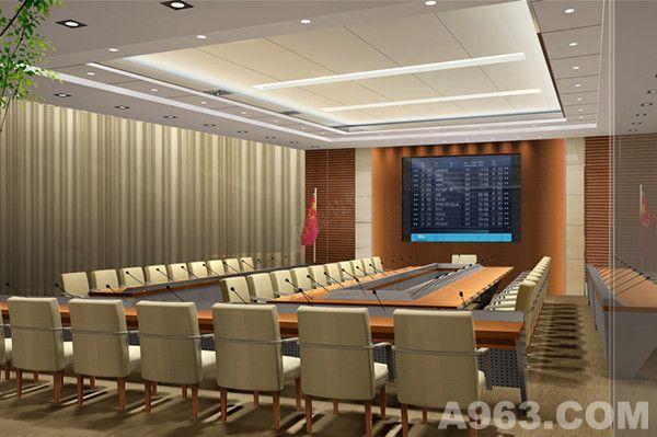 会议室,是各公司,各集团,各单位,各政府机构必不可少的一个办公组成部分。其类型可以是小型的研讨,也可以是大型会议,也可以是视频会议,又或者一些报告厅。那么这些参会人员,会议性质,会议大小不同,相应的,作为设计师在制定办公会议室装修方案时就要根据这些要求,来进行设计,来进行构思。 这里针对于不同性质的,政府单位机构会议室,以及集团公司大型会议室。针对不同类型的,小型会议,大型会议,视频会议,高层会议来分别展现一下不同的效果。 首先,我们这里来看一下接待室。其顶面,墙壁以及地毯的设计,主色系是一样的,属于同一