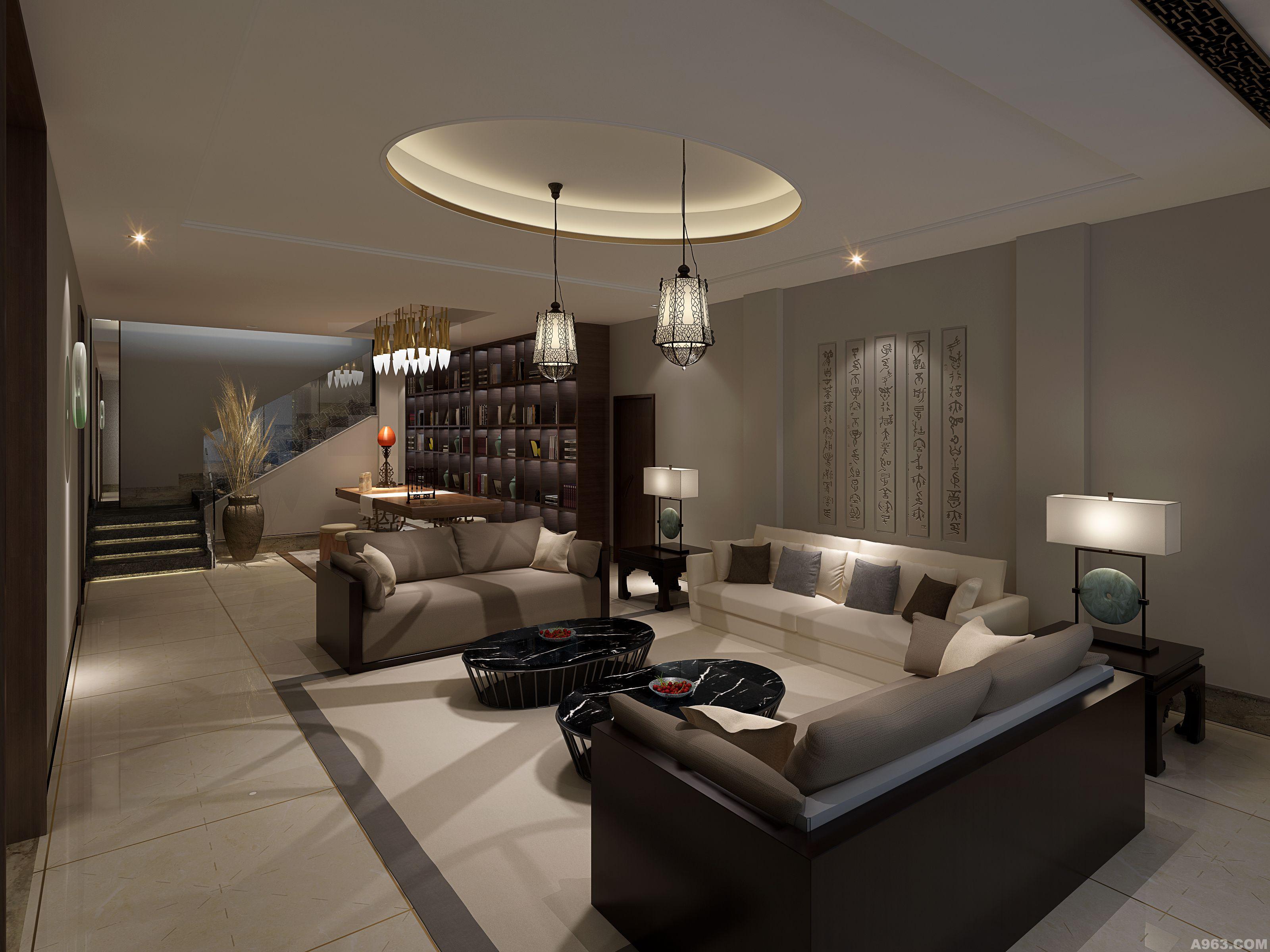 麓山国际长岛别墅设计-中国汉字演绎新中式空间说明