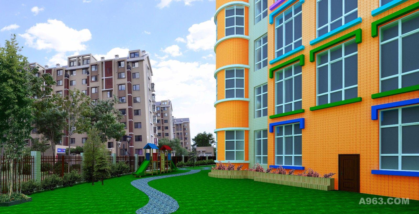 熊攀云-幼儿园设计说明: 贵阳爱迪剑桥中英文幼儿园外墙及花园