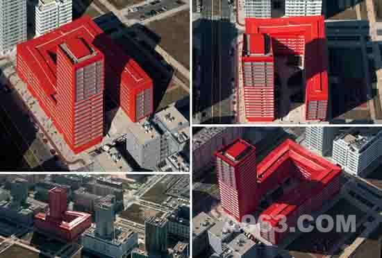 住宅楼设计-西班牙u型红色住宅楼