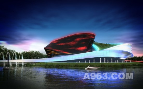 韩国釜山歌剧院建筑设计方案由sanzpont [arquitectura]设计,在这个设计中,红绿蓝三原色的半导体照明把入夜的歌剧院打扮得绚丽多彩,美不胜收。有趣的是,印刷纹理的递变度可以控制阳光和红绿蓝三原色半导体照明的强度和梯度,使歌剧院的外表和内部出现流光溢彩的移动中的能量流。