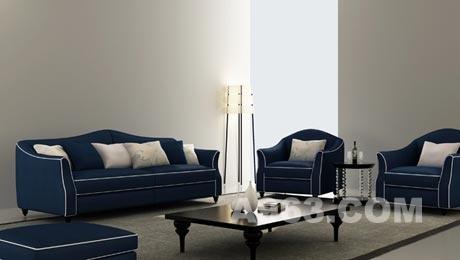 欧式沙发图片大全宝蓝色
